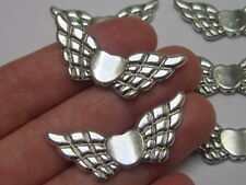 6 x large silver tone  Angel Wing Charm Spacer Shaped Beads findings 40 x 22 mm