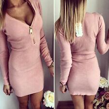 Women Long Sleeve Bodycon Slim Cocktail Party Clubwear Knit Sweater Mini Dress