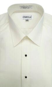 Microfiber Ivory Tuxedo Shirt 'Laydown Collar', Non pleat