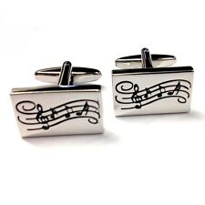 Rectangular Music Notes on Stave CUFFLINKS Musician Musical Present GIFT BOX