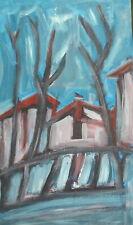 Vintage expressionist oil painting landscape