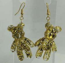 Gold Glitter Bubblegum Bear Earrings Fun G304 Pastel Large Resin