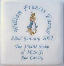 Peter Rabbit PERSONALISED BLANKET - Birth, Christening, Baby Request any Design!