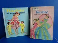 """2 Vintage Barbie Books- """"The Babysitter"""" & """"Barbie Goes To A Party"""" 1964"""
