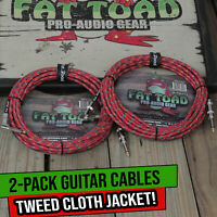 Guitar Cable 20FT Tweed Cloth Woven Braided Right Angle 2 Wires Instrument Cord