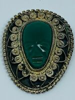 Vintage Signed Taxco Silver Carved Green Chalcedony Onyx Filigree Brooch Face