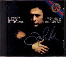 Zubin MEHTA Signed STRAVINSKY Le Sacre du Printemps The Rite of Spring CBS CD