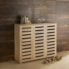Oslo 3 Door Oak Wooden Shoe Storage Cabinet Rack Stand Cupboard Slatted Doors