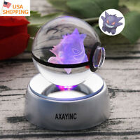 Gengar Pokemon 3D Crystal Decor Night Light LED Table Lamp Crafts Gift  RGB 50mm