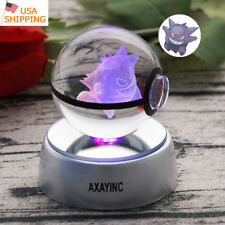 Gengar Pokemon 3D Crystal Decor Night Light LED Table Lamp Crafts Gift  RGB 50mm