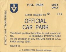 1984 VFL Park carpark official reserved ticket number 405 issued by J Hamilton