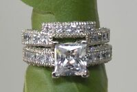3.50ct Princess Cut Diamond Engagement Ring Wedding Band 14k Solid White Gold