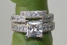 3.50CT PRINCESS CUT DIAMOND ENGAGEMENT RING & BAND SOLID 14K SOLID WHITE GOLD