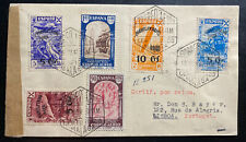 1940 Malaga Spain Airmail censored cover to Lisboa Portugal Zeppelin Stamp