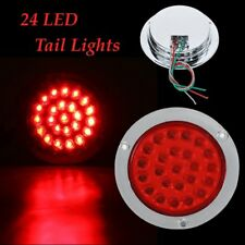 24LED Red Round Reverse Stop Brake Turn Signal Rear Tail Light Truck Trailer RV
