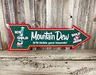 "Mountain Dew Sold Here 27"" Arrow Metal Tin Sign Large Vintage Garage Man Cave"