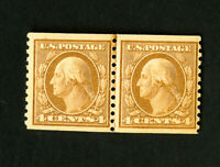 US Stamps # 495 VF Line Pair OG NH Catalog Value $160.00