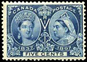 Canada #54 mint F-VF OG H 1897 Queen Victoria 5c deep blue Diamond Jubilee