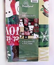 Christmas Tablecloth Snowman Design Vinyl With Polyester Back 52 X 70 inch