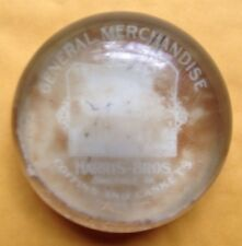1900s BRANCHVILLE, VA, HARRIS BROTHERS STORE GLASS PAPERWEIGHT, COFFINS, CASKETS