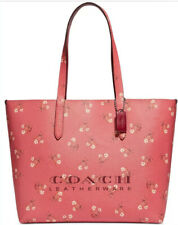 New Coach Floral Print Highline Tote bag Faux leather bright coral silver