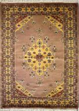 Rugstc 4x6 Pak Persian Beige Area Rug, Hand-Knotted,Medallion with Silk/Wool