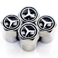 4 Ventilkappen Mercedes Benz, Performance, Chrom, Autoreifen, Metall