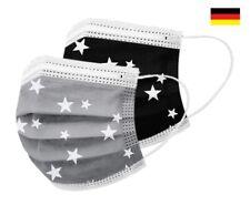 10 / 50 EMUZO Mund-Nasen-Masken Behelfsmaske schwarz grau mit Sternen motiv bunt