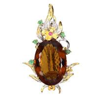 Handmade 31.96ct Aaa Cognac Quartz Emerald 925 Sterling Silver Pendant Brooch
