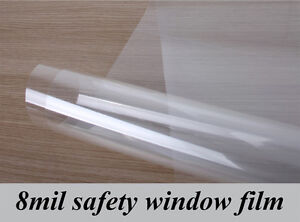 8 Mil Window Film Security and Safety Clear Clarity Absorbs Impact 90% UV Hot US