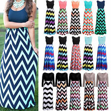 Boho Womens Long Maxi Dress Striped Summer Casual Evening Party Beach Sundress