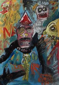Fine unique Pop Art painting, Graffity art, signed Jean Michel Basquiat w COA