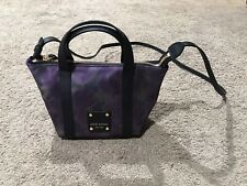 Henri Bendel Purple Floral Nylon Jetsetter Mini Tote Crossbody Bag Leather trim