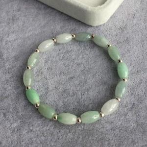 Natural Grade A Jade Jadeite 6mm Light Green Oval Bead with Silver Bead Bracelet