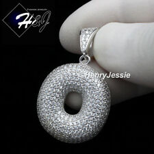 """MEN 925 STERLING SILVER LAB DIAMOND ICED BUBBLE INITIAL LETTER """"O"""" PENDANT*SP203"""