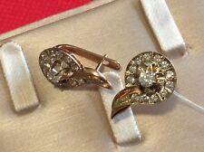 583 Yellow gold real Russian created Diamond-Fianite Earrings pair  5.5 gr