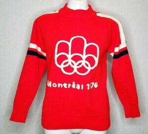 Vintage Montreal Olympics 1976 USA Sweater Livible Knits Inc Red Medium