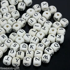 300PCs Wood Beads Letters Print Cube Mixed White 8mmx8mm