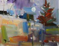 JOSE TRUJILLO - OIL PAINTING ORIGINAL Impressionism Tonalist Moon Landscape COA