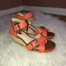 4f536864ad ALEX MARIE Womens Coral Brown Leather Buckle Strap Wedge Sandal Size 6.5M