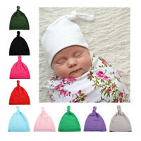 Newborn Child Baby Toddler Infant Boys Girls Cotton Knot Soft Beanie Hat Cap