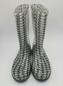 Sloggers Womens Rain Garden Boots Mid Calf Size 8 Black White Patter Waterproof