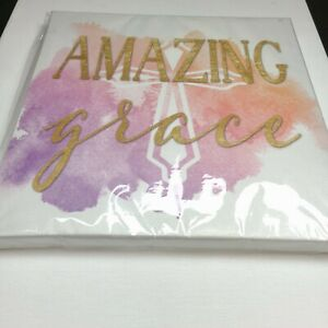 Amazing Grace Christian Canvas Wall Art Decor Multi color with Cross in Middle