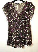 PURPLE  BROWN WHITE LADIES CASUAL SHEER TUNIC TOP BLOUSE SIZE 12 DEBENHAMS