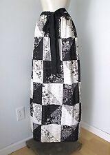 Vgc Vtg 70s Mod Black White True Pinwheel Patchwork Eyelet Lace Maxi Skirt S/M