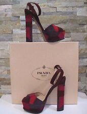 NIB! PRADA PURPLE PLUM PATCHY PLATFORM SANDALS Sz 37, US 6.5- 7