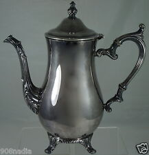 VINTAGE SILVER PLATED FOOTED TEA/COFFEE POT ROGERS ORNATE HANDLE