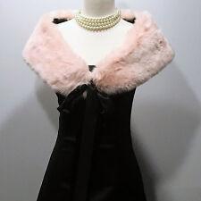 Jessica McClintock | Black Satin Strapless Dress w/ Pink Faux Fur Wrap – Size 7/