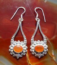Ω Ohrring Antik Stil Blume Karneol rot Stein Sterling Silber 925