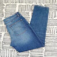 Eileen Fisher Stretch Organic Cotton Mid Rise Straight Jeans Dark Wash size 12